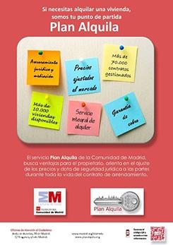 Cartel Plan Alquila de la Comunidad de Madrid